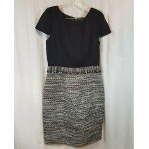 Tahari Black White Sheath Dress 10 NWOT